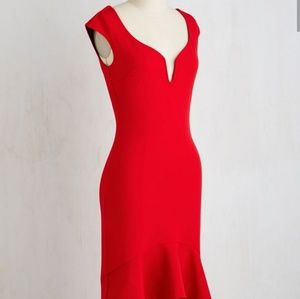 "ModCloth ""Clarinet the Air"" Red HiLo Dress NWT"